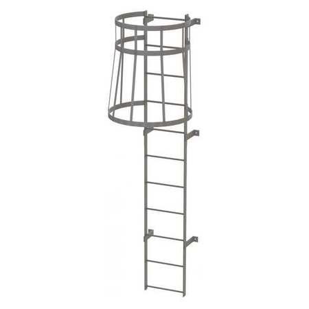 10Ft Steel Fixed Ladder with Safety Cage – WLFC1111