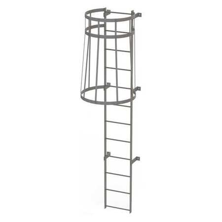 11Ft Steel Fixed Ladder with Safety Cage – WLFC1112