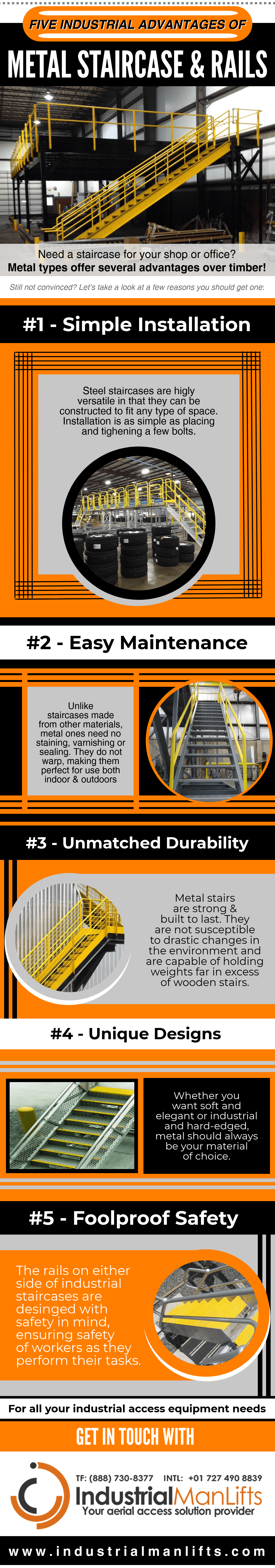 Five Industrial Advantages Of Metal Staircase & Rails [ Infographic ]