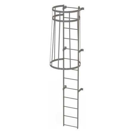 12Ft Steel Fixed Ladder with Safety Cage – WLFC1113