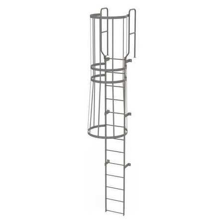 12Ft Steel Fixed Ladder with Safety Cage – WLFC1213