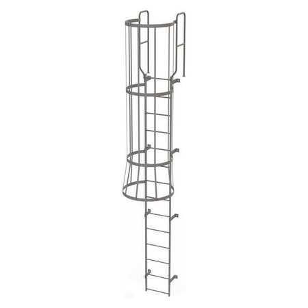 13Ft Steel Fixed Ladder with Safety Cage – WLFC1214