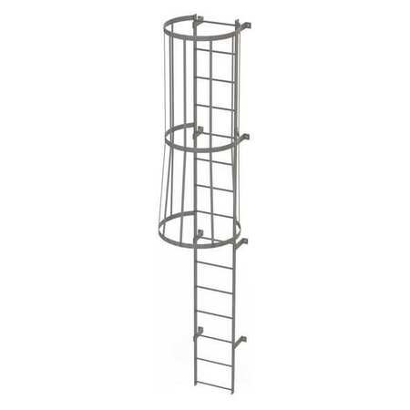 14Ft Steel Fixed Ladder with Safety Cage – WLFC1115