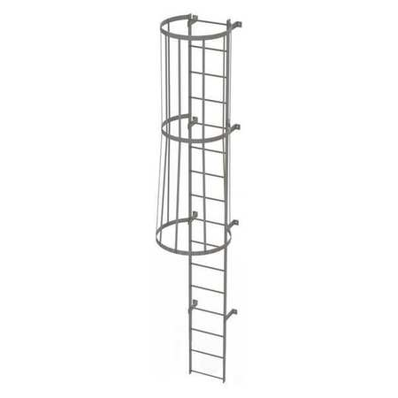 15Ft Steel Fixed Ladder with Safety Cage – WLFC1116