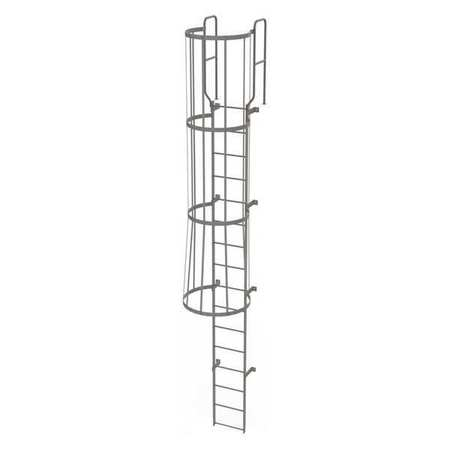15Ft Steel Fixed Ladder with Safety Cage – WLFC1216