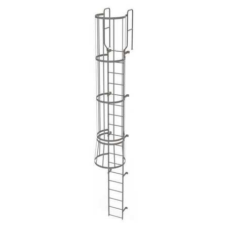17Ft Steel Fixed Ladder with Safety Cage – WLFC1218