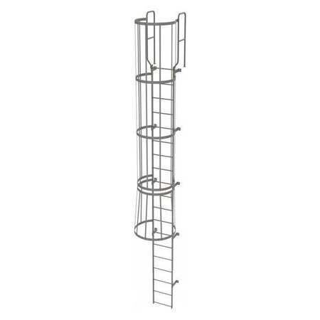 18Ft Steel Fixed Ladder with Safety Cage – WLFC1219