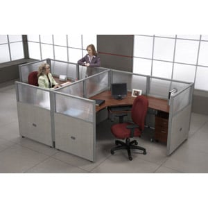 2 Workstation Unit — 1 x 2 Configuration 47″ Panel Height 72″ Desk Size