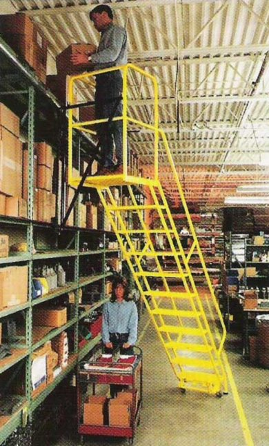 Dual Side Track Caged Ladder Industrial Man Lifts