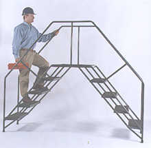 Portable Crossover Ladder with Slopped Stairway