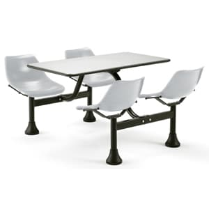 Cluster Table with stainless steel top and chairs