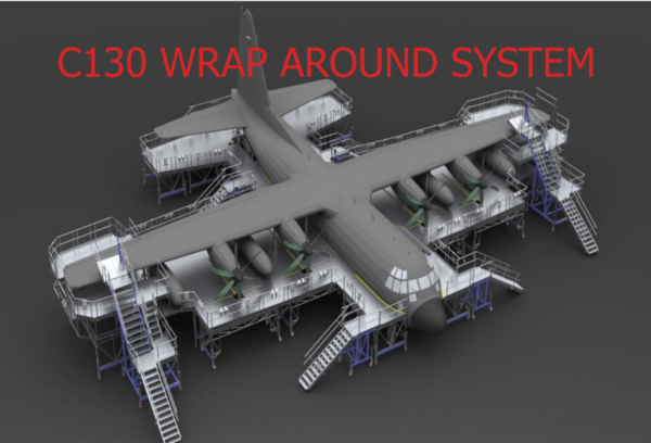 C-130 Aircraft Full Docking System|C-130 Aircraft Maintenance Full Docking Platform System|c-130 engine maintenance stands|c-130 full wrap|c-130 fuselage dock|c-130 maintenance tail dock|c-130 maintenance wrap|c-130 nose dock|c-130 wing stands|c130 wrap