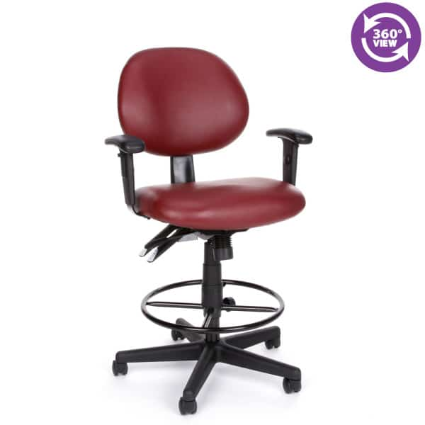 24 Hour Anti-MicrobialAnti-Bacterial Vinyl Computer Task Chair wArms, Drafting Kit
