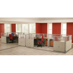 4 Workstation Unit 1 by 4 Configuration 47 Panel Height 72 Desk Size