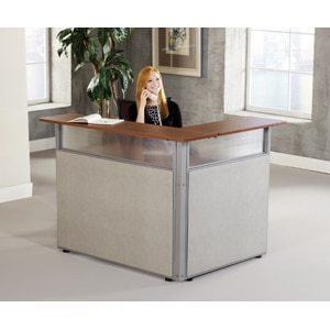 48″ x 37″ L-Shaped Reception Station