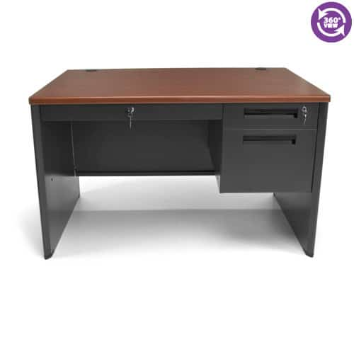 Executive Series Single Pedestal Panel End Desk with Center Drawer 29.50 by 47.25