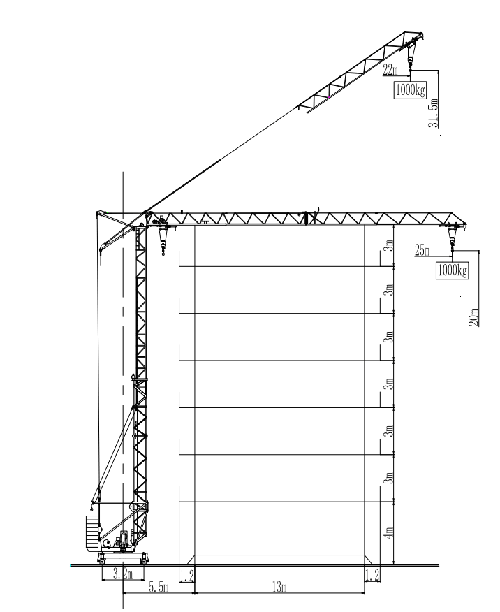 Fast Assemble Tower Crane Specifications 3