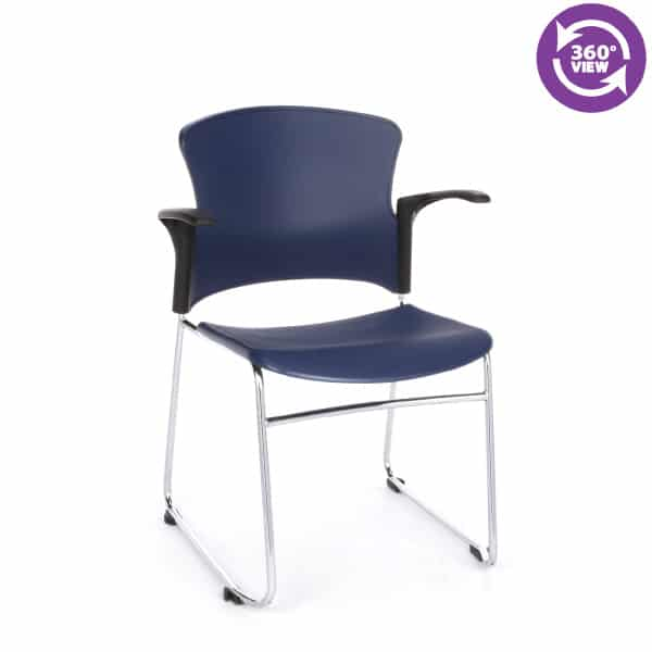 Multi-Use Stack Chair with Plastic Seat & Back with Arms