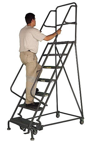 Rolling Steel Work Platform Ladder Industrial Man Lifts