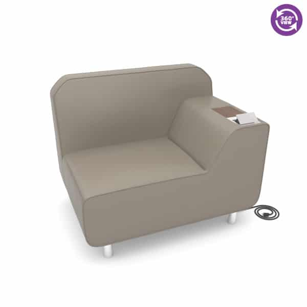 Serenity Series Left Arm Lounge Chair with Electrical Outlet