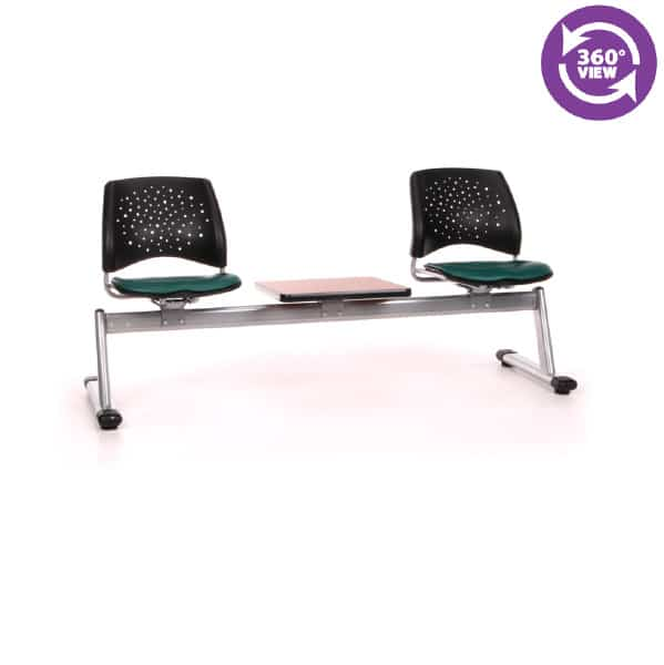 Stars 3-Unit Beam Seating with 2 Vinyl Seats & 1 Table