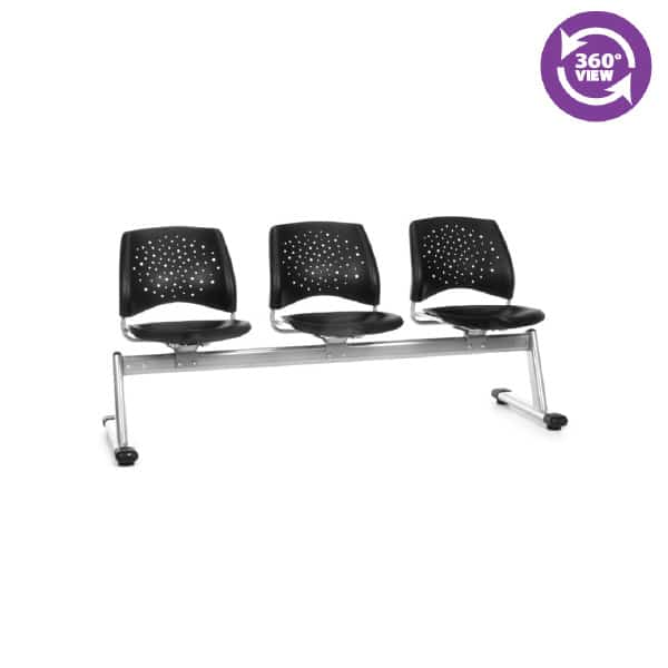 Stars 3-Unit Beam Seating with 3 Plastic Seats