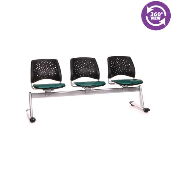 Stars 3-Unit Beam Seating with 3 Vinyl Seats
