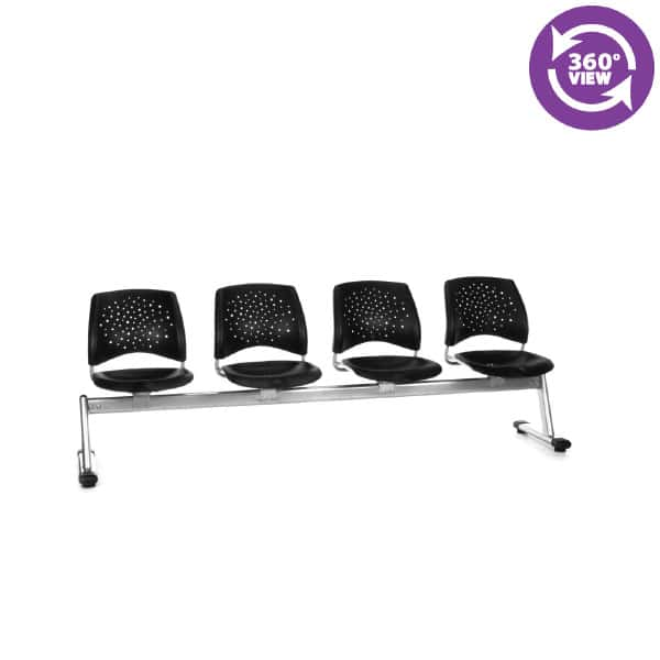 Stars 4-Unit Beam Seating with 4 Plastic Seats
