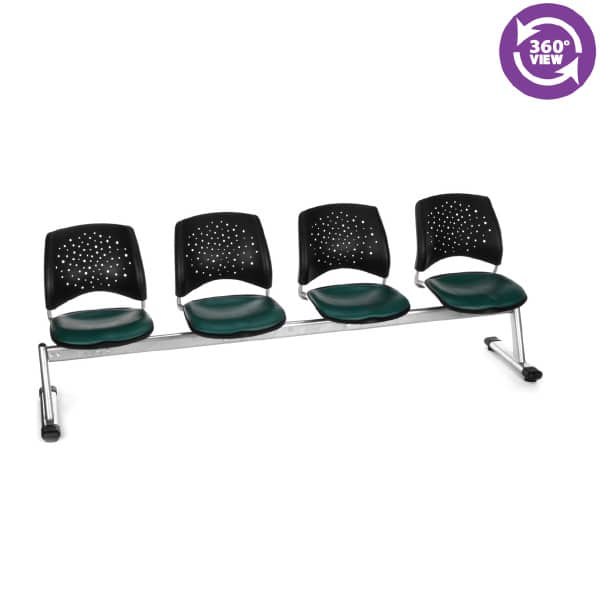 Stars 4-Unit Beam Seating with 4 Vinyl Seats