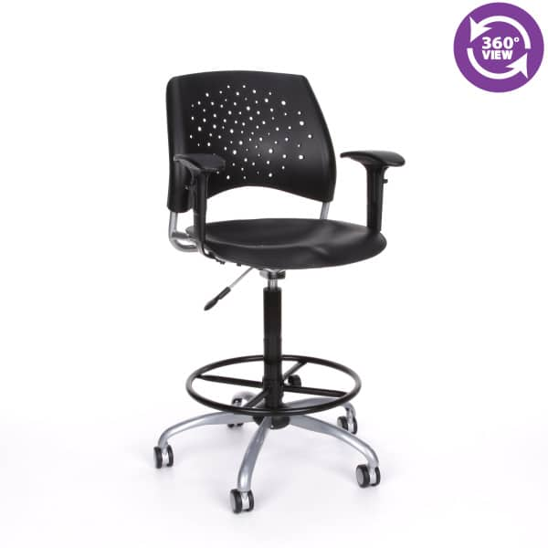Stars Swivel Plastic Chair with Arms and Drafting Kit