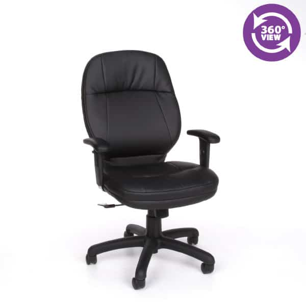 Stimulus Series Leatherette Executive Mid-Back Chair with Adjustable Arms