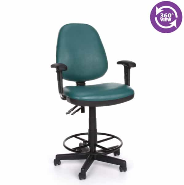 Straton Series Vinyl Task Chair with Arms and Drafting Kit